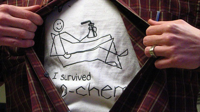 Chemical physics article showing I survived O Chem t-shirt logo